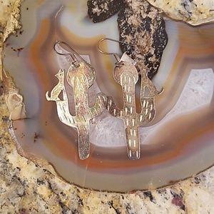 Vintage saguaro, wolf & moon earrings GUC